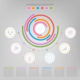 Infographic do elemento do círculo, projeto liso do vetor do ícone do negócio Imagens de Stock Royalty Free