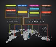 Infographic: Donkere Wereldkaart met wijzertekens Stock Foto's