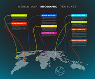 Infographic: Donkere Wereldkaart met wijzertekens Royalty-vrije Stock Afbeelding