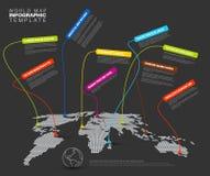 Infographic: Donkere Wereldkaart met wijzertekens Stock Fotografie