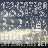 Infographic. Doodle elements for infographics set. Background bokeh sky (36 items Royalty Free Stock Image