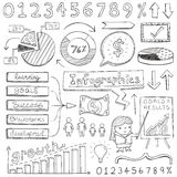 Infographic Doodles. Infographic elements illustrated in a doodled style Royalty Free Stock Photography