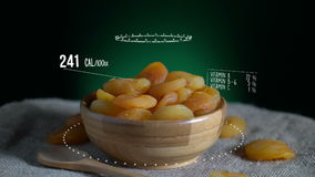 Infographic of Dried Apricot with vitamins, microelements minerals. Energy, calorie and component stock footage