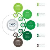Infographic or eco Business presentation with 5 options. Vector. Dynamic infographics or mind map of technology or education process with 5 steps. Web Template Royalty Free Stock Photography