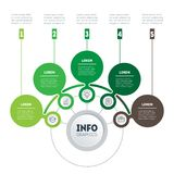 Infographic or eco Business presentation with 5 options. Web Tem. Plate of a chart, mindmap or diagram. Vector dynamic infographics or mind map of technology or Stock Images