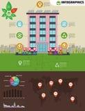 Infographic Ecoflatgebouw Ecologie groen huis in stad Vlakke stijl vectorillustratie Zonnepanelen, elektrisch aangedreven auto Royalty-vrije Stock Foto's