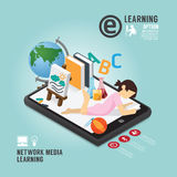 Infographic Education Media Learning Template Design . Royalty Free Stock Photo