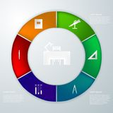 Infographic for education. Round infographic with colored parts icons for education Stock Photography