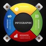 Infographic in einem bunten ledernen schwarzen Hintergrund des Kreises Stockfotos