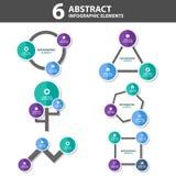 6 Infographic elementów prezentaci Abstrakcjonistycznego szablonu płaski projekt ustawia dla broszurki ulotki ulotki marketingu Obraz Stock