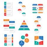 9 Infographic elementów prezentaci Kolorowego szablonu płaski projekt ustawia dla broszurki ulotki ulotki marketingu Obrazy Royalty Free