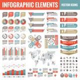 Infographic elementów szablonu kolekcja - biznesowa wektorowa ilustracja w płaskim projekta stylu dla prezentacji, broszura, stro ilustracji