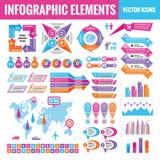Infographic elementów szablonu kolekcja - biznesowa wektorowa ilustracja w płaskim projekta stylu dla prezentacji, broszura, stro royalty ilustracja
