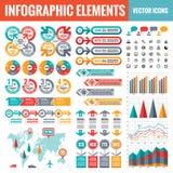 Infographic elementów szablonu kolekcja - biznesowa wektorowa ilustracja w płaskim projekta stylu dla prezentacji, broszura, stro ilustracja wektor