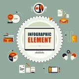 Infographic Element der Weinlese Leben des Gehaltsmannes Lizenzfreie Stockbilder