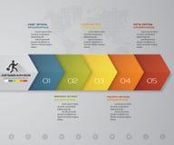 infographic Element des 5 Schritte Zeitachse-Pfeiles 5 infographic Schritte, Vektorfahne können für Arbeitsflussplan verwendet we Lizenzfreie Stockfotos