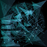 infographic element Futuristisk användargränssnitt Låg poly mörk bakgrund för abstrakt polygonal utrymme med förbindande prickar Royaltyfri Bild
