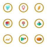 Infographic element icons set, cartoon style Royalty Free Stock Photo