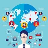 Infographic Elemente der globalen Kommunikation des Konzeptes des Sozialen Netzes Stockbild