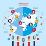 Infographic Elemente der globalen Kommunikation des Konzeptes des Sozialen Netzes Lizenzfreies Stockbild
