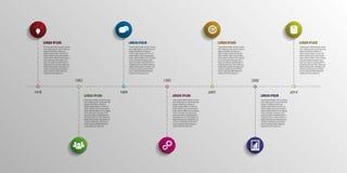 Infographic Elemente der Zeitachse Vektor mit Ikonen Lizenzfreie Stockfotografie