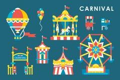Infographic Elemente des flachen Artkarnevals Stockfotografie