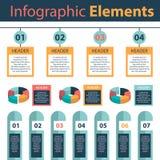 Infographic-Elemente, die Analytikkreisdiagramme vermarkten Stockbild