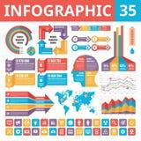 Infographic-Elemente 35 Infographic-Schablonen Enthaltene 30 Vektorikonen Stockbild