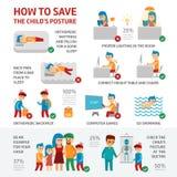 Infographic Elemente Lage der Kind s über Kindergesundheit Der Doktor behandelt einen Jungen hat Skoliose Schlaf auf orthopädisch stock abbildung