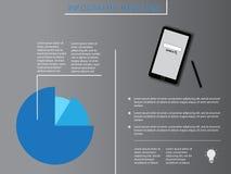Infographic-Elemente mit blauem Diagramm und Smartphone lizenzfreie abbildung