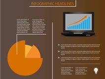 Infographic-Elemente mit Laptop und Diagramm Stockfoto