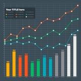 Infographic-Elemente - Stange und Linie Diagramm Lizenzfreies Stockfoto