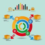 Infographic elements - bar and line charts, people infographics, diagrams, steps/options, round progress indicators, timeline, royalty free illustration