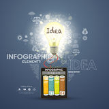 Infographic elements, battery lighting the bulb Royalty Free Stock Image