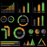 Infographic elements. On the black background. Analytics and statistics graphs Royalty Free Stock Photos