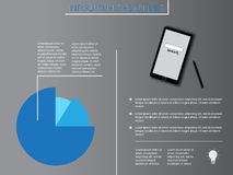 Infographic elements with blue diagram and smartphone. Background Royalty Free Stock Images