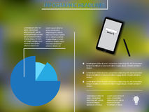 Infographic elements with blue diagram and smartphone. Background Royalty Free Stock Photo