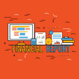 Infographic elements for Business Financial Reports. Creative Infographic elements with digital devices for Business Financial Reports presentation Royalty Free Stock Photo
