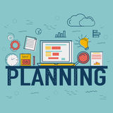 Infographic elements for Business Planning concept. Creative Infographic elements with digital devices for Business Planning concept Royalty Free Stock Image