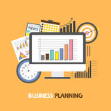 Infographic elements for Business Planning concept. Creative illustration of statistical graph on desktop with various infographic elements for Business Stock Photos