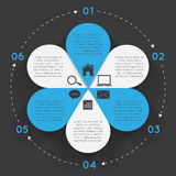 Infographic Elements Circle Flower. Vector circle flower infographic. Template for diagram, graph, presentation and chart. Business concept with six options royalty free illustration