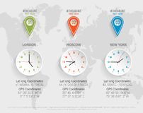 World map clock with GPS, latitude and longitude coordinates. Vector illustration with pins and long shadows. Infographic elements with clocks and GPS stock illustration