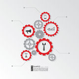 Infographic elements - Cogwheel gear. Infographic elements. Cogwheel gear - business concept wit icons symbolizing process of manufacture Stock Image