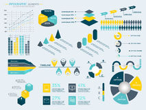 Infographic Elements Collection. Business Vector Illustration for presentation, booklet, website,  diagram, banner, number options, workflow layout or web Royalty Free Stock Images