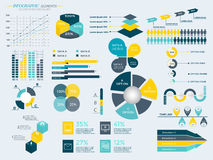 Infographic Elements Collection. Business Vector Illustration for presentation, booklet, website,  diagram, banner, number options, workflow layout or web Royalty Free Stock Photography