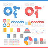 Infographic Elements Collection. Pregnancy infographic flat design style for presentation, booklet, website etc. Big set of Infographics. Web banner and icon Royalty Free Stock Photos