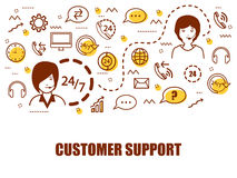 Infographic elements for Customer Support company. Creative Infographic elements with people working as Customer Supporter Royalty Free Stock Images