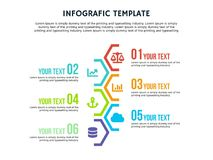 Infographic hexagonal template and powerpoint full color. Infographic elements, designs cover all styles and creative to formal and business presentations, flyer Royalty Free Stock Photos