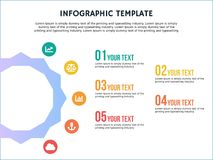 Infographic template hexagonal step and powerpoint Stock Image
