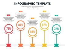 Five circle element ppt and infographic template royalty free stock photos